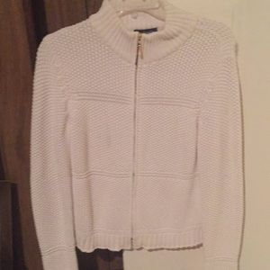 Ann Taylor zip up front cream cardigan 100% cotton